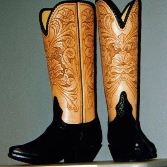 custom tooled cowboy boots by leroux territory 66