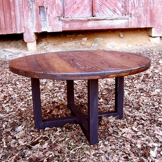 Reclaimed Wood Industrial Round Coffee Table: Buy A Custom Made Reclaimed Wood Wormy Chestnut Round